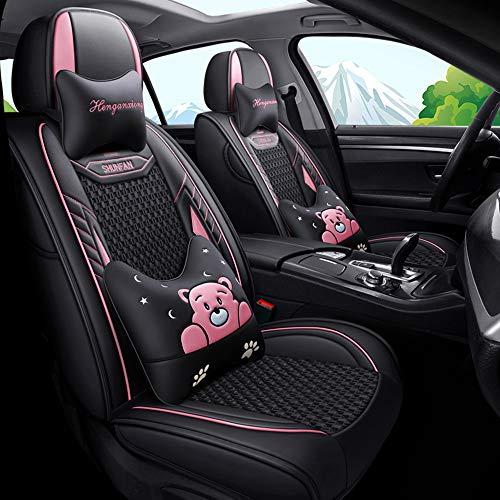 Cubiertas de asiento de automóvil universales transpirables de lujo de cuero PU y seda de hielo para el coche delantero trasero de 5 asientos,Rosado