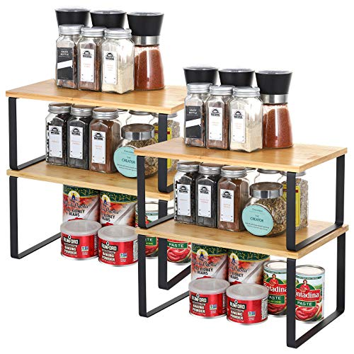 Juego de 4 estantes de cocina de bambú | Estantería para encimeras, extensible y apilable, organizador de encimeras, estantería de almacenamiento, para especias, platillos, tazas, cuencos