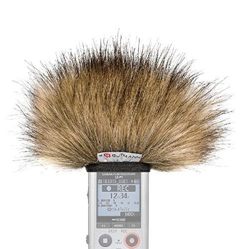 Gutmann Mikrofon Windschutz für Olympus LS-P1 / LS-P2 / LS-P4 Premium Edition Wolf mit Innenfutter