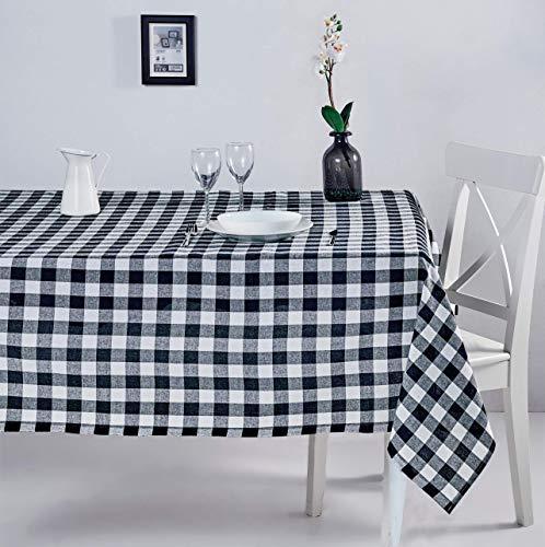 ElfRoutes Mantel Cuadros Vichy - Mantel Cocina - Mantel de Tela - Mantel%100 Algodon (Negro, 155 X 220 cm)