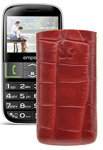Original Suncase Tasche für / Emporia EUPHORIA V50 / Leder Etui Handytasche Ledertasche Schutzhülle Hülle Hülle - Lasche mit Rückzugfunktion* In Croco-Rot