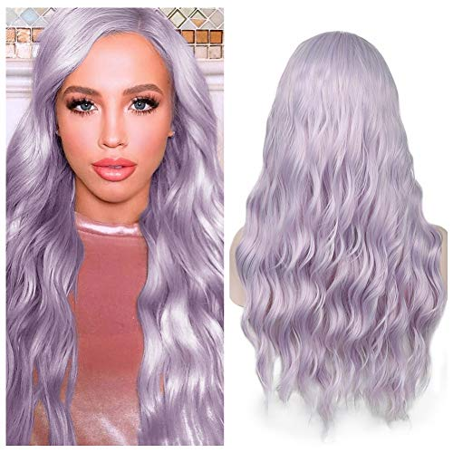 Quantum Love Lilac Hair Wavy Wigs Light Violet Color Curly Wave Hair Middle Part Long Wavy Wig Heat Resistant Synthetic Daily Party Wig for Women
