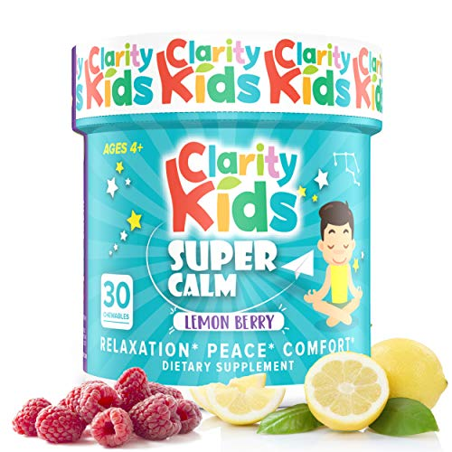 Clarity Kids Super Calm (30 Chewables), A Magnesium Chewable for Comfort, Calm Kids Magnesium for Relaxation, A Natural Calm Magnesium for Kids with L-Theanine, Vitamins, and More
