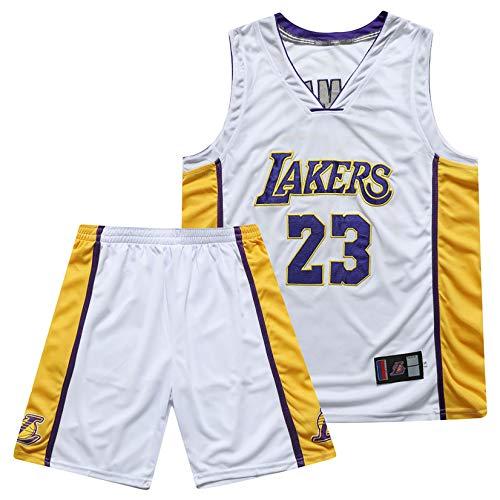 PGODYQ Baloncesto Jersey James 23 Kobe 24 Bryant 8 para Los Fanáticos De Lakers, Bola Bordada Número De Bola Y Logo Pantalones Cortos De Baloncesto para Hombre Jersey Chale 23 White-M