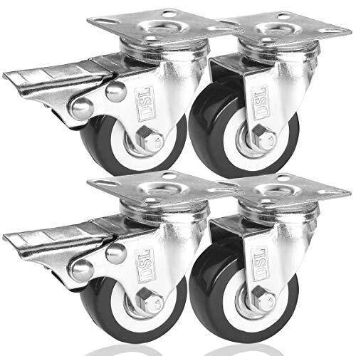 DSL Lenkrollen, 50 mm, PU, robust, Doppellager, 2 Rollen mit Bremsen, Gummi, für Rollwagen, Möbelrolle, 240 kg, 4 Stück