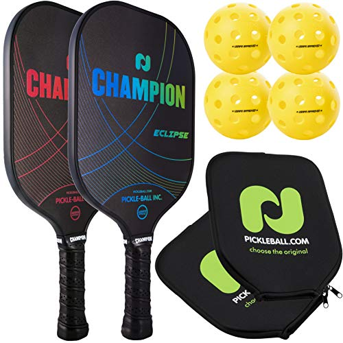 Champion Eclipse Graphite Pickleball Paddle 2 Paddle & Ball Set  Includes 2 Paddles + 4 Outdoor Pickleballs + 2 Paddle Covers   Polymer Honeycomb Core, Graphite Hybrid Composite Face