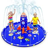 "Splash Pad for Kids, 70"" Large Unique Inflatable Splash Pad Sprinkler with Rocket Spray Water, Fun Blue Backyard Fountain Play Mat for Toddlers Learning Wading Pool Summer Outdoor Splash Water Toy"