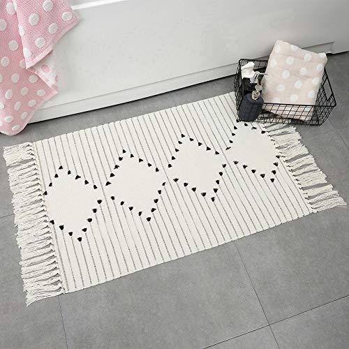 Alfombra de baño Boho con flecos pequeños para cocina, recámara, borla tejida de algodón marroquí, alfombra de baño lavable para cuarto de lavandería, entrada, exquisito estilo minimalista geométrico, Geometric, 2.0 ft x 3.0 ft