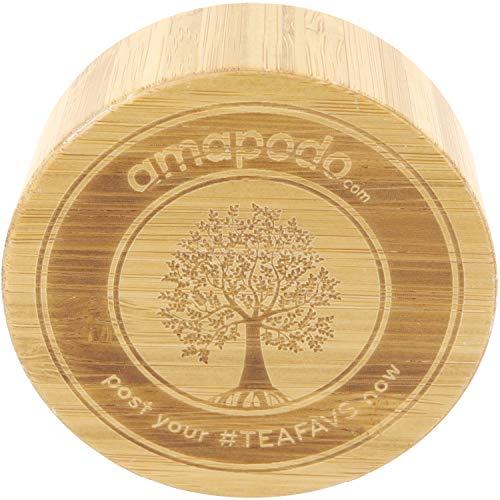 amapodo Ersatzdeckel Bambus passend für 400ml Glasflaschen - Edelstahlkern mit Teesieb Ablage BPA-Frei