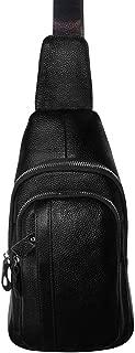 Men's Cow Leather Sling Bag Cross-body Shoulder Chest Packs Zipper Backpack Multipurpose Daypack (Black)