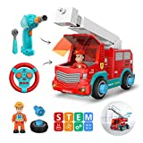 DEERC Remote Control Take Apart Toys RC Cars for Kids with 2.4GHz, STEM Build Your Own Fire Truck...