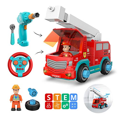 DEERC Remote Control Take Apart Toys RC Cars for Kids with 2.4GHz, STEM Build Your Own Fire Truck Toys with Electric Drill, Lights and Music, Construction Toy Gifts for Boys and Girls