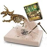 MUSCCCM Kit di scavi per Dinosauri Triceratopo, Kit di scavo fossili di Scheletro Dino Modello di Dinosauro Realistico Giocattoli educativi Regalo per Bambini Ragazzi Ragazze