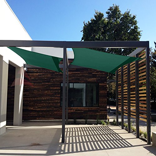 Windscreen4less 16' x 16' Sun Shade Sail Square Canopy in Green with Commercial Grade (3 Year Warranty) Customized