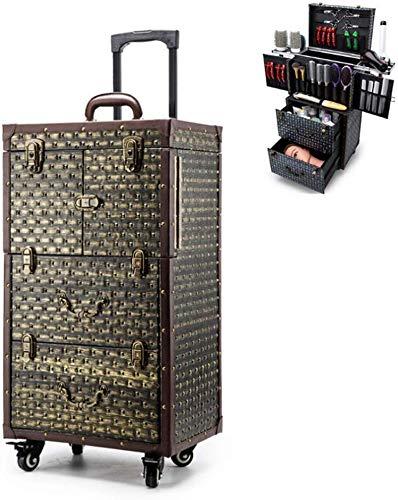 Elise Roll Afsluitbare make-up trein val kapperstoolbox kappers speciale koffer leder + rivet decoratie multifunctionele schaar haardroger Bracket, 40X28x76cm, goud