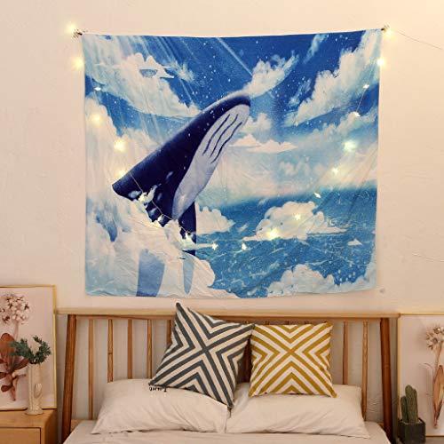 Scrolor Wandbehang Bild Wandteppich Tapisserie Ocean Shark Pattern Home Dekorative Wandmatte 150x200cm(Mehrfarbig 6,150x200cm)
