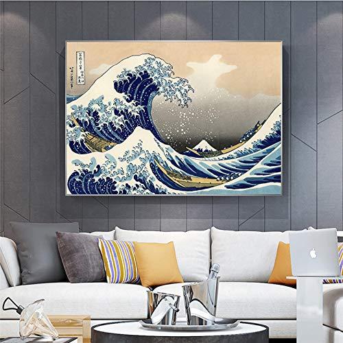 Cuadro en lienzo famoso japonés, carteles e impresiones famosos japoneses, cuadros artísticos de pared Quadros para decoración de sala de estar, 60x105cm sin marco