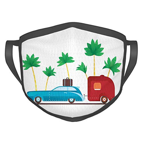 Comfortable Windproof mask,Colorful Travel Cartoon Tropical Palm Trees with Retro Vehicle and Suitcase,Printed Facial decorations for adult
