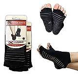 Calcetines sin Dedos YogaAddict para Yoga, Pilates, Danza, Barra; Media Puntera con agarres, Antideslizantes, Black (Grey Grippy Lines) - 2 Pairs, M/L