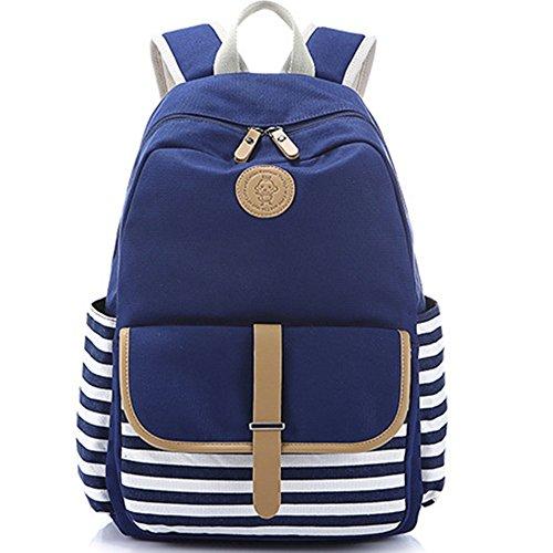 Classic Canvas Backpack Set for Teen Girls and Boys School Bags and Pencil Case 2 in 1 (Blue)