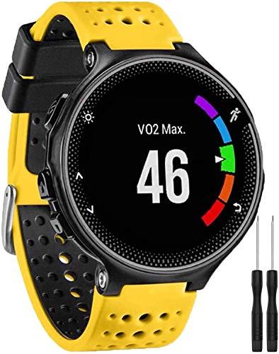 Pulseira para Smartwatch Garmin Forerunner modelos 230 235 220 620 630 735 735XT - Nandos-Store (com chave para troca) (Amarelo com preto)