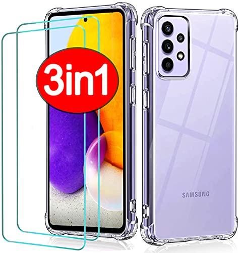PROTOTEL 2X Panzerfolie u. Handyhülle durchsichtig für Samsung Galaxy A72. 2 Stück Displayfolie 9H Hartglas für Displayschutz A72