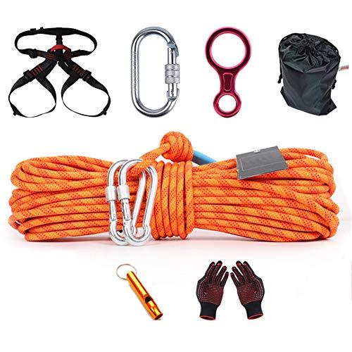 GJF Klettern Seilset, Lift Rocksteiggeräte Set, Sicherheitsseil im Freien Klettern Seil Seil, verschleißfestes Rettungsseil mit hoher Höhe orange-90m