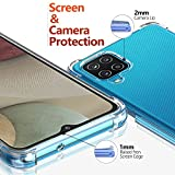 Ferilinso Coque pour Samsung Galaxy A12/ M12 + 2 Pièces Verre Trempé Protection écran [Housse Transparent Silicone] [10X Anti-Jaunissement] [Antichoc Bumper] [Anti-Rayures] [9H Dureté]