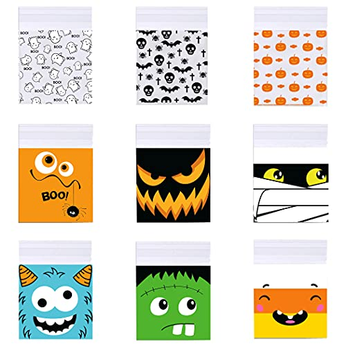 RMMD 180 PCS Halloween Cookie Bags Self-adhesive Halloween Plastic Candy Bags Trick or Treat Bags Halloween Goodie Sweet Bags for Halloween Party Favors