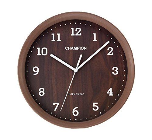 Champion Kompaktes Sekundenzeiger Holz Effekt Quarz-Wanduhr - dunkel