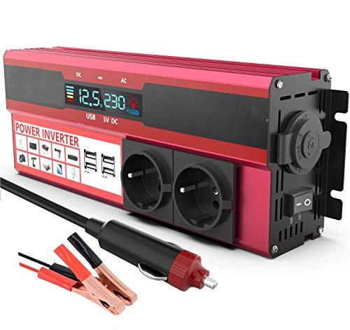 1500W Inversor de Corriente DC 12v a AC 220v, Transformador Convertidor 12v 220v con 2 enchufes de la UE y 4 Puertos USB Que Incluyen Clips de Batería de Automóvil, para Coche, Caravana, Barco