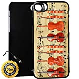 Custom iPhone 7 Case (Vintage Violin Music Sheet) Edge-to-Edge Plastic Black Cover with Shock and Scratch Protection | Lightweight, Ultra-Slim | Includes Stylus Pen by Innosub
