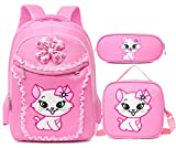 Debbieicy Cute Cat Printing Lace Backpack Lightweight Princess School Bag Kids Bookbag Handbag Pen...