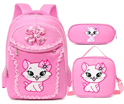 Debbieicy Cute Cat Printing Lace Backpack Lightweight Princess School Bag Kids Bookbag Handbag Pen Bag Set for Primary Girls (Small, Pink1(Backpack Handbag Pen Bag))