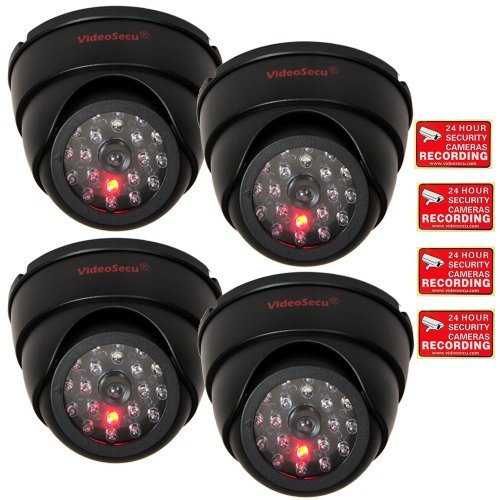 VideoSecu 4 Pack Dome Dummy Fake Infrared IR CCTV Surveillance Security Cameras Imitation Simulated Blinking LED with Security Warning Stickers C4B