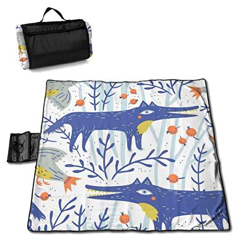 N/A Große wasserdichte Picknickdecke für den Außenbereich, lustiger Fuchs, Jagd, Camouflage, Blau