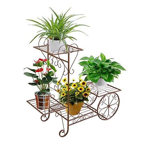 ZZBIQS Carro de jardín con soporte para plantas, soporte para plantas, soporte de hierro con 4 estantes para interior, exterior, hogar, balcón (marrón)