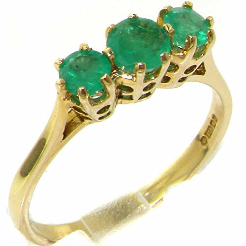 9ct Yellow Gold Womens Vibrant Emerald Eternity Trilogy Band Ring - Size P