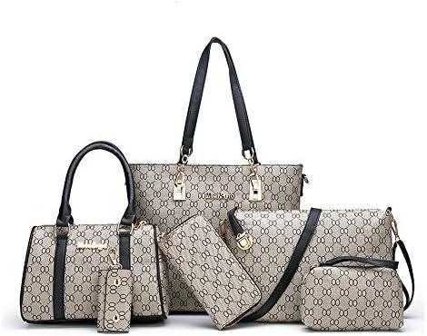 Women Handbags Set 6 Pack Tote Bags Shoulder Crossbody Bag Purse Satchel Wallet Purse Black product image