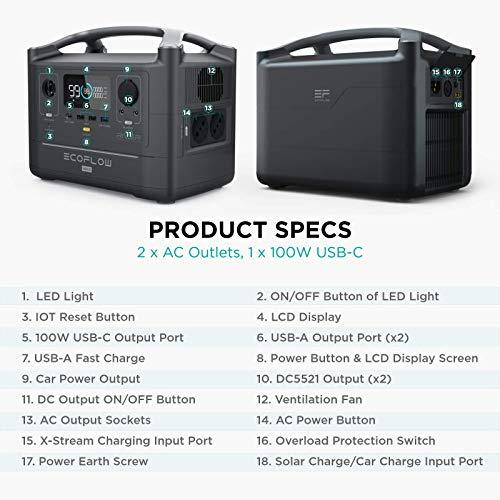 Batterie portable EF ECOFLOW RIVER Max, Batterie de secours au lithium 576 Wh avec 3 sorties CA de 600 W (1 200 W max), générateur solaire propre pour l'extérieur, les véhicules de camping