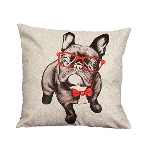 covers Frenchie French Bulldog with Red Glasses Throw Pillow Case