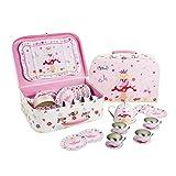 Juego de té de juguete de estaño y maletín con motivos de hadas de Lucy Locket - Vajilla infantil de 14 piezas de color rosa