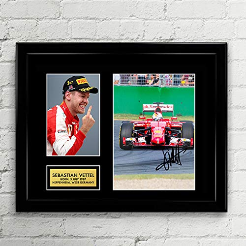 Sebastian Vettel Formula One Ferrari Racing Signed Autographed Photo Mat Custom Framed 11 x 14 Replica Reprint Rp