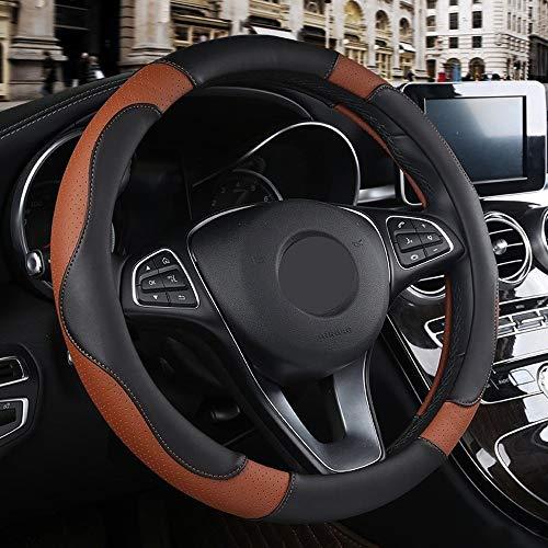 Auto Steering Wheel Cover Non-slip ademend PU Leren stuur Protector Universal Auto-onderdelen (Color : Brown, Size : Free)