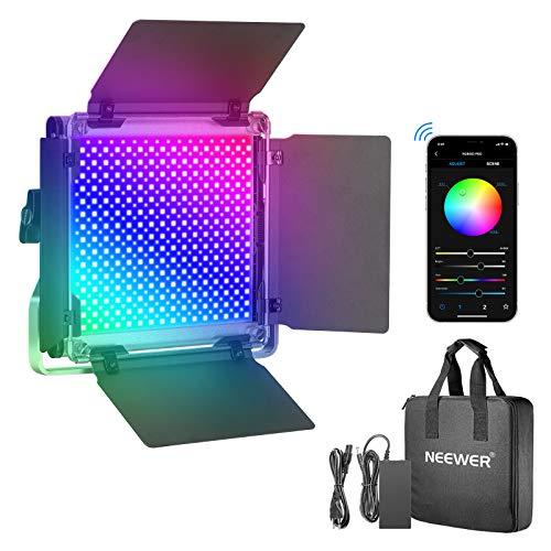 Neewer Luz de Video LED 660PRO RGB con App Control Iluminación de Video de 50 W 360°a Todo Color CRI 97+ con Soporte Barndoor/U para Juegos Transmisión Youtube Webex Conferencia Web Fotografía