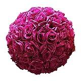 Amesii 8-Zoll-Silk künstliche Rose Blumen Ball hängende Dekoration Tafelaufsatz weinrot