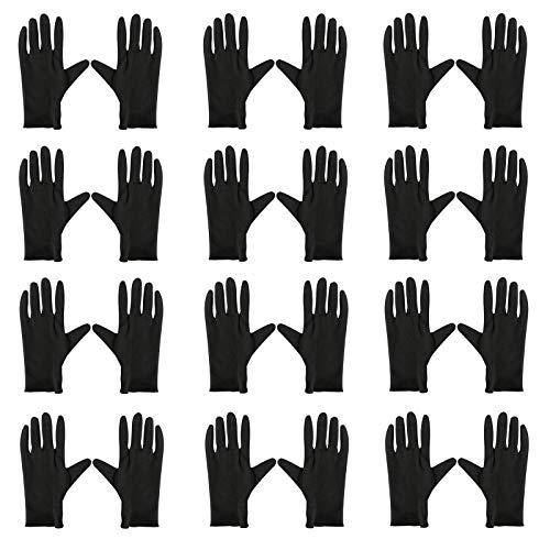 Arbeitshandschuhe 12 Paar Stoff Handschuhe Baumwoll Handschuhe Schwarz Handschuhe für Malen Unkrautarbeit Juweliergeschäft Schmuckinspektion Zeremonie Etikette Restaurant Zuhause Labor Im Freien