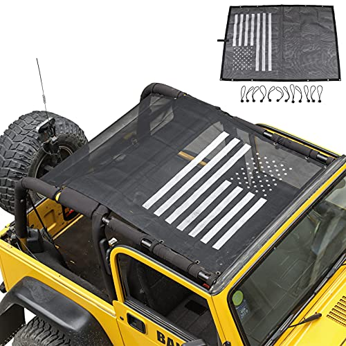 RT-TCZ Jeep Wrangler TJ US Flag Durable Polyester Mesh Shade Top Cover Provides UV Sun Protection for 1997-2016 Jeep Wrangler TJ Original Black And White