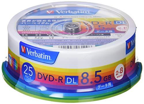 三菱ケミカルメディア Verbatim 1回記録用 DVD-R DL DHR85HP25V1 (片面2層/2-8倍速/25枚パック) ホワイト