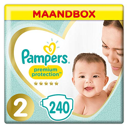 Pampers Premium Protection Maat 2, x240 Luiers, 4-8kg Maandbox